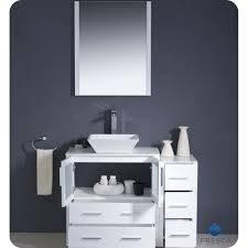 42 Inch Bathroom Vanity Cabinet with Fresca Torino 42 Inch White Vessel Sink Bathroom Vanity With Side
