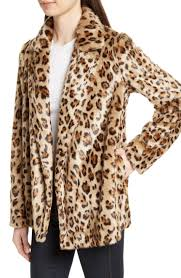 Leopard Print Faux Fur Throw Theory Clairene Leopard Print Faux Fur Coat Nordstrom