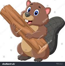 cartoon beaver holding wood stock illustration 500483725