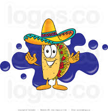 cartoon sombrero image royalty free vector logo of a cartoon taco mascot standing