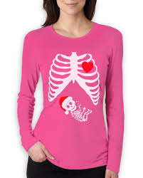 Halloween Shirt For Pregnant Women by Christmas Pregnant Skeleton Women Long Sleeve T Shirt Baby Xray