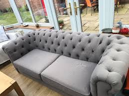 Cloth Chesterfield Sofa by Light Grey Fabric Chesterfield Sofa For Sale Excellent Condition
