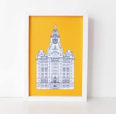 england home decor liverpool print liver building liverpool liverpool drawing art