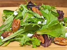 mesclun with glazed pecans goat cheese and dijon mustard