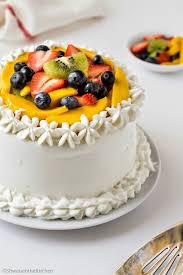vanilla sponge cake whipped cream frosting fresh fruits