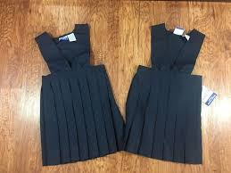 girls navy blue jumper v neck pleated basic image uniform