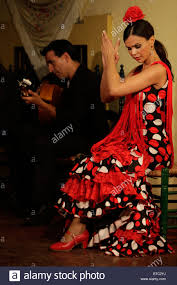 flamenco dancer and guitar player at the tablao cardenal in