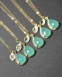 bridesmaid jewelry gifts mint opal green gold necklace bridesmaid wedding bridal