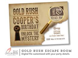 escape room invite boys or girls birthday invitation gold rush