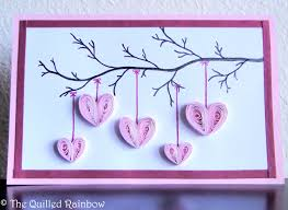 cool valentines cards to make quilled hanging hearts handmade hearts hanging from a branch