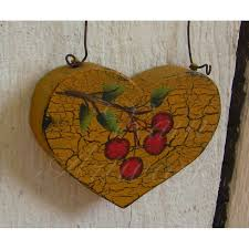 primitive christmas tree primitive heart tree cherry christmas tree ornament folk painting