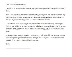 resignation letter 2 week notice resignation letter example give