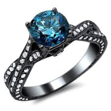 blue engagement rings blue pave engagement ring engagement rings