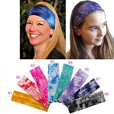 stretch headbands 2 inch tie dye printing cotton stretch headbands runnding
