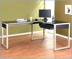 Black And Chrome Computer Desk Corner Glass Computer Desk Top Executive Innovative Modern L