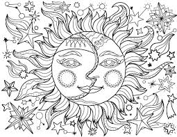 free printable sun moon coloring download