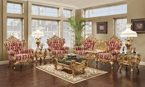Gold Leather Sofa Fantastic Victorian Style Living Room Design With Purple Floral