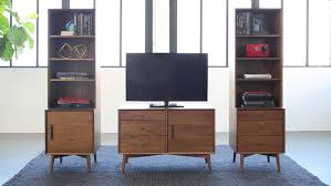 Small Media Cabinet Furniture Small Brown Wooden Console With Triple Drawers And One Storage