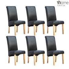 6 Black Dining Chairs 1home 6 X Leather Black Dining Chair W Oak Finish Wood Legs Roll
