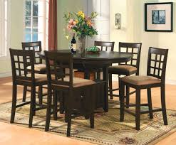 cappuccino dining room furniture collection oval counter height dining set 7pc table bar stools wood rounds