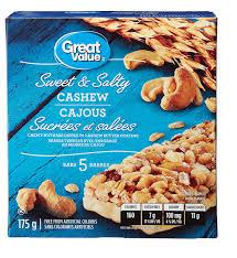 cuisine avec snack bar great value salty cashew chewy nut granola bars walmart