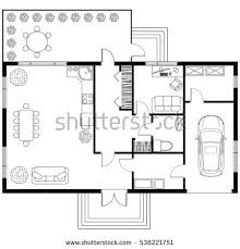 architectural plan black white architectural plan house layout stock vector 513912505