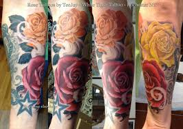 roses tattoo by teejay white tiger