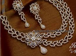 diamond set floral hangings 2 layers diamond set jewellery designs