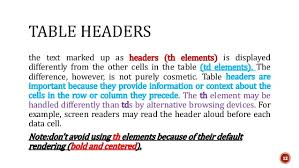Html Table Header Row Html Tables