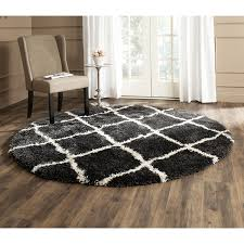 White Round Rug by Living Room Shag Area Rugs With Brown Wooden Floor And White