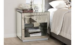 melanie glamour style mirrored 1 drawer 1 shelf nightstand groupon
