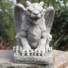 wing gargoyle cast garden ornament statue mythical pillar