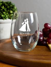 personalized glasses wedding 15 ounce stemless wine glasses