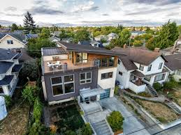 level house contemporary split level house with views of downtown seattle and