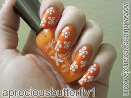 simple neon orange flower nail design youtube