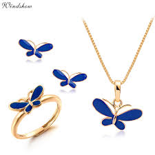 small jewelry necklace images Cute blue oil drop butterfly necklaces pendants earrings ring jpg
