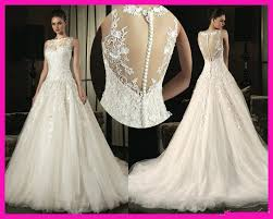 designers plunging neckline wedding dresses buttons down the back