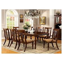 Dining Room Tables Set Sun U0026 Pine 7pc Intricate Carved Design Dining Table Set Wood Dark