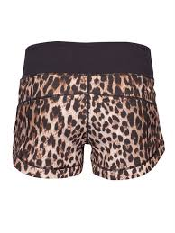 waist band womens blockout leopard print wide waist band active shorts