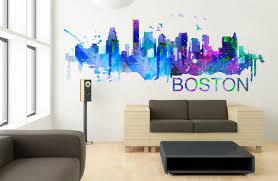 boston art skyline watercolor decal sticker moonwallstickers com boston art skyline watercolor decal sticker