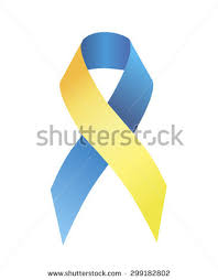 blue and yellow ribbon blue yellow ribbon symbolizing attention problem stock vector