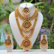beautiful gold necklace set images Traditional gold plated beautiful red green necklace set buy jpg