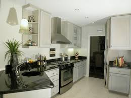 Laminate Flooring In Kitchens L Shaped Cream Wooden Kitchen Cabinet With Black Countertop On