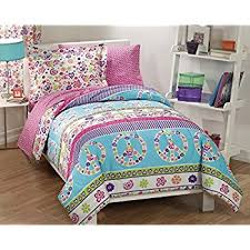 Purple And Teal Bedding Amazon Com My Room Peace Out Girls Comforter Set With Bedskirt