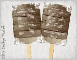 make your own wedding fan programs rustic wedding program template fan wedding programs wood lace
