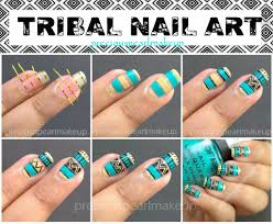 nail art tutorial diy easy tribal nails black and white nail neon