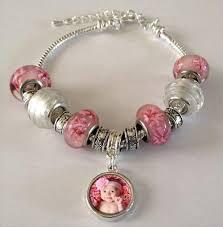 european bead bracelet charms images Pink photo beads bracelet w dangling photo beads kit photo jpg
