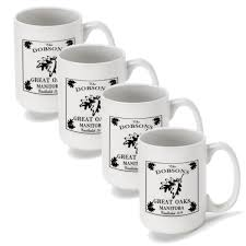 set of 4 personalized lake house and cabin coffee mugs