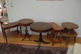 24 round pedestal table 5 side tables round two tier table pair of round pedestal tables