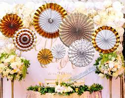 paper fan backdrop 2 sets 16pcs gold glitter paper fan backdrop gold birthday gold